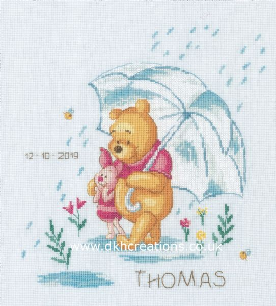 Disney Winnie The Pooh Feeling Sentimental Birth Sampler Cross Stitch Kit